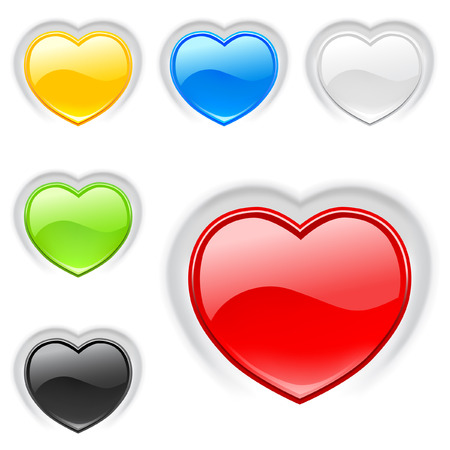 Heart (buttons) multicolor icons set. Valentine
