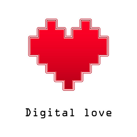 Valentine with heart. Digital love. Vector Illustration