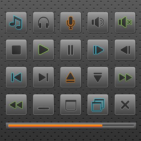 player controls: Jugador web botones y m�sica controles iconos, establezca. Inclusivos en diferentes capas de cuatro colores. Eps10