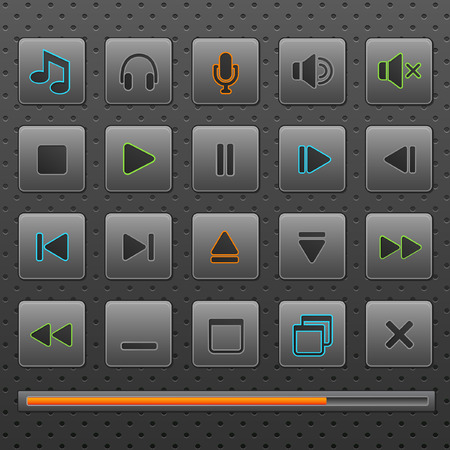 Player web buttons and music controls icons, set. Four colors inclusive in different layers. Eps10 Illustration