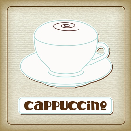 A cup of hot cappuccino in the old cardboard texture. Vintage collection. The other images of coffee drinks (ristretto, americano, espresso, etc.) from this collection in my portfolio. Vector