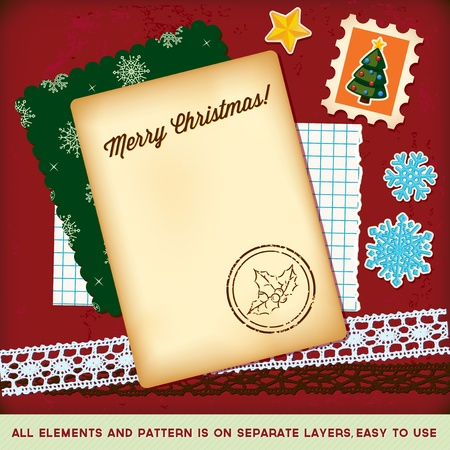 Chrismas scrapbook elements tamplate  Vector  Stock Vector - 10815286