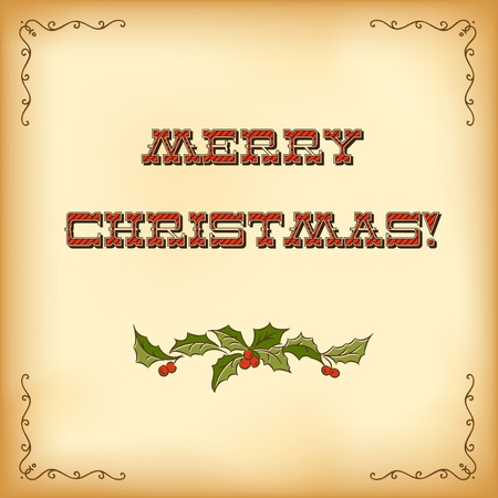 Vintage Christmas card. Merry Christmas lettering Stock Photo - 10815287