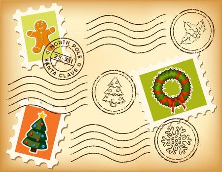 happy new year stamp: Vintage postal de Navidad situado en papel viejo.