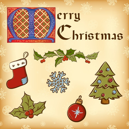 Vintage Christmas (New Year) elements. Gothic lettering Vector