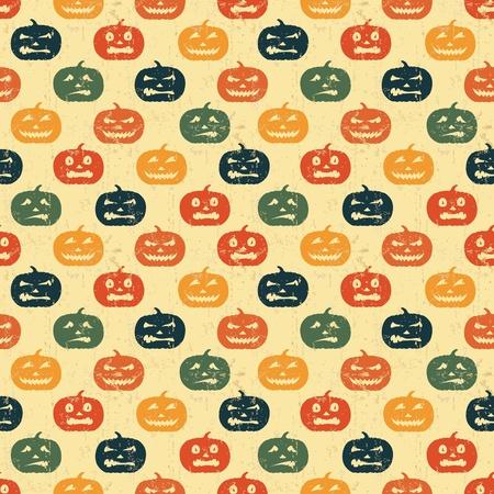 calabaza caricatura: Fondo transparente de Halloween con calabaza. Patr�n retro. Foto de archivo
