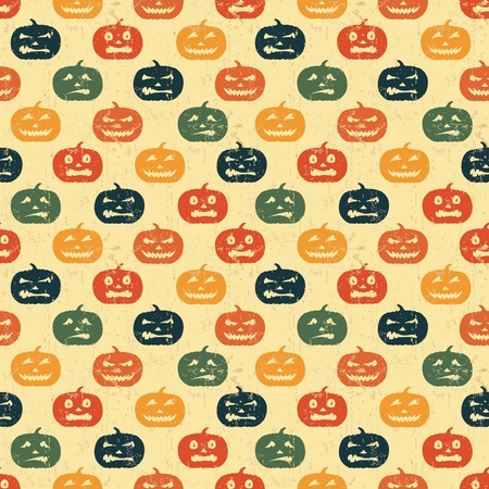 scary pumpkin: Halloween seamless background with pumpkin. Retro pattern.