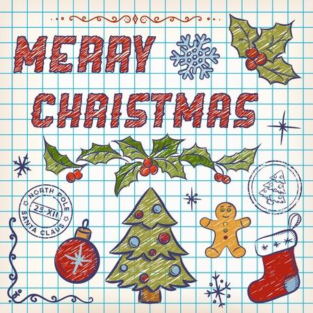 Christmas Doodles. Design Elements on Sketchbook Paper 矢量图像