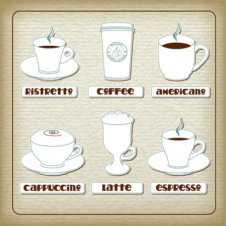 Set of cups with different coffee drinks on old carboard