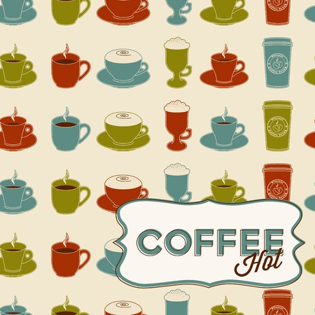Coffee cup seamless pattern with tag.  Vector