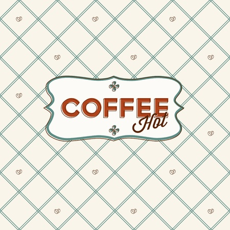 Seamless pattern with coffee grains and lable.
