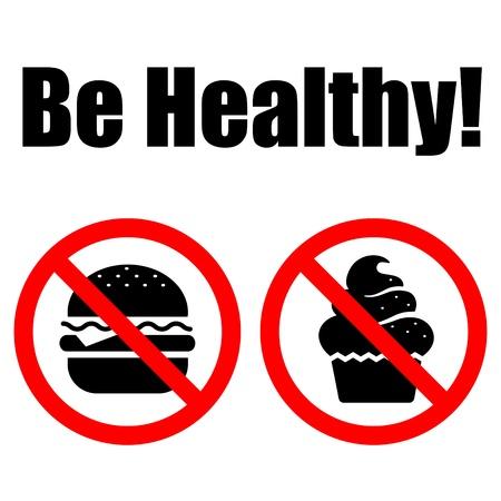 not: Comida de s�mbolos prohibida (pastel y humburger). Letras Vectores
