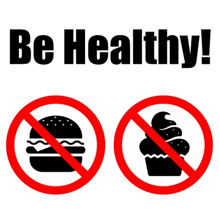 Prohibited Symbols food (cake and humburger). Lettering Vector