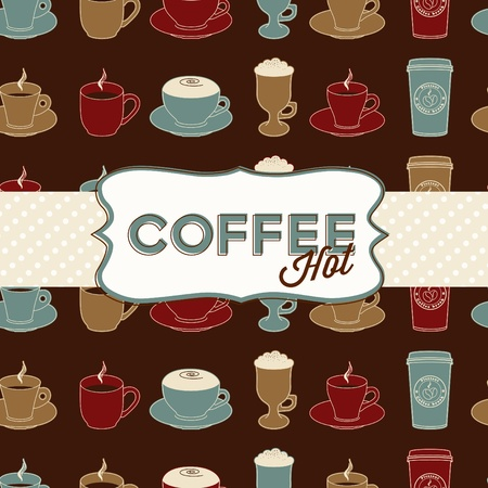 Coffee cup seamless pattern with tag. Template of vintage design