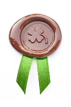 St. Patrick's wax seal with image of  Four Leaf Clover photo