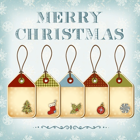 etiquetas de ropa: Navidad etiquetas y de la vendimia letras Feliz Navidad