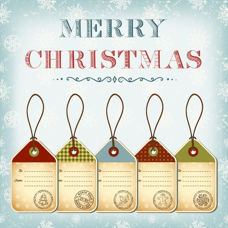 Christmas template of vintage tags with stamps Stock Photo - 11544789