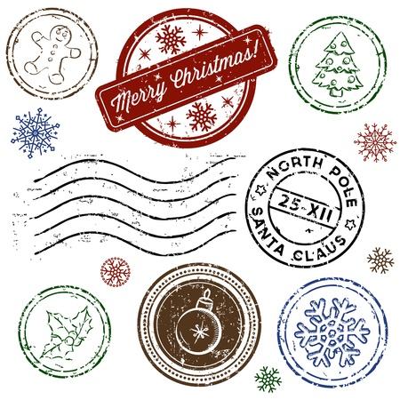 timbre postal: Navidad sello conjunto aislado en blanco. Vector