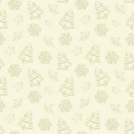 Seamless Christmas pattern with tree and snowflake Stock Photo - 11544790