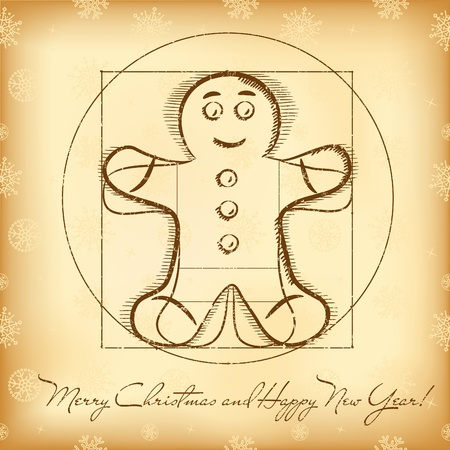 Christmas greeting card with vitruvian gingerbread