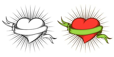 corazon dibujo: Coraz�n con la cinta en el estilo del tatuaje.