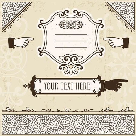 index card: Vintage design elements with hands and other page decoration.