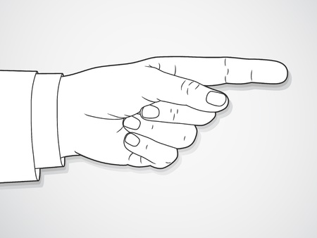 pointing finger: Hand sign with pointing finger. Vector.