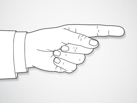 finger pointing: Mano signo con el dedo apuntando. Vector.