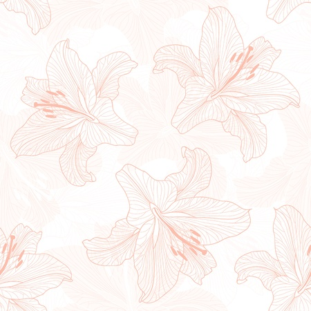 Seamless floral pattern. Background with lily Stock Vector - 12306749