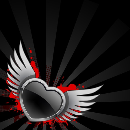 Black glossy heart with wings on background with red spots Vector