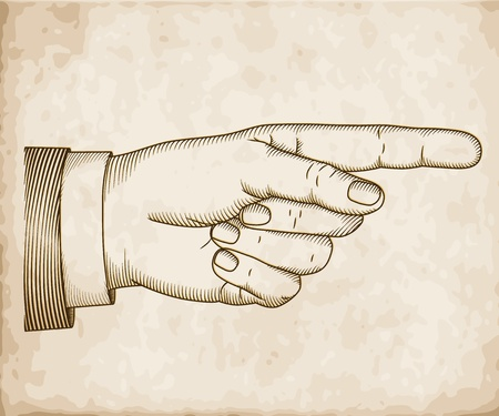 pointing finger pointing: Hand with pointing finger on old paper.  Illustration