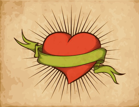 Heart with ribbon in tattoo style on old paper. Vector