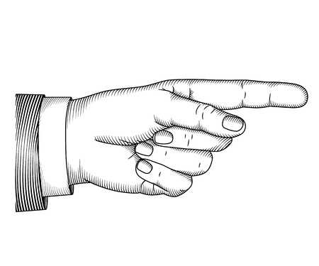 pointing at: Mano con dito puntato. Xilografia illustrazione