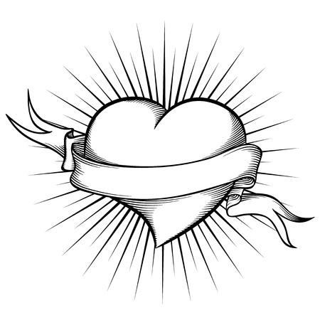 dessin coeur: Coeur avec un ruban dans le style de tatouage.