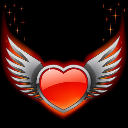 glow in the dark: Glossy red heart with iron wings on the black