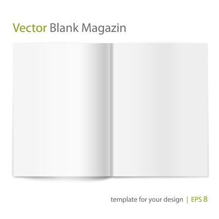 diary page: Blank magazine on white background  Template for design Illustration