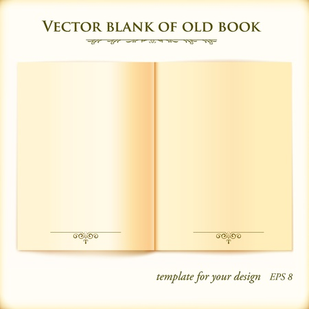 hard cover: Open Old Book illustration template for your design