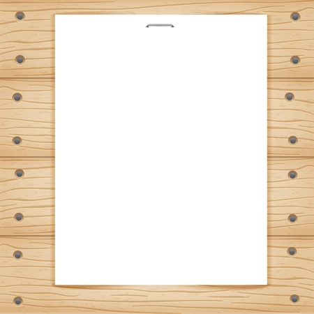 Blank paper sheet on wooden background Stock Photo - 12679927