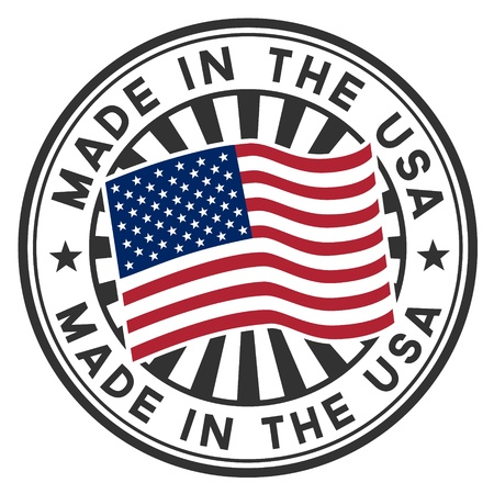 Stamp with flag of the USA  Lettering Made in the USA  Illustration