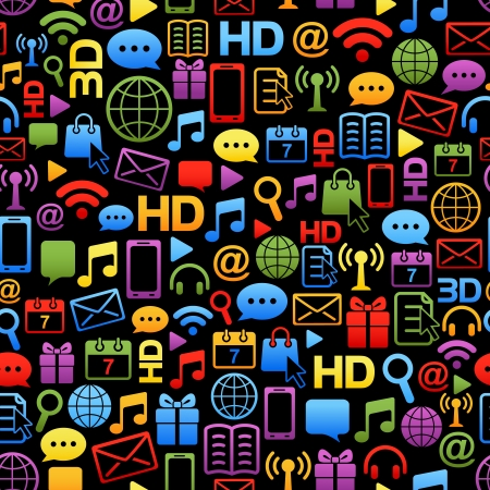 background made from colorful network icons on black Stock Vector - 14243909