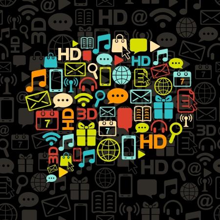 sociología: burbuja de comunicaci�n a partir de iconos de colores sobre fondo negro