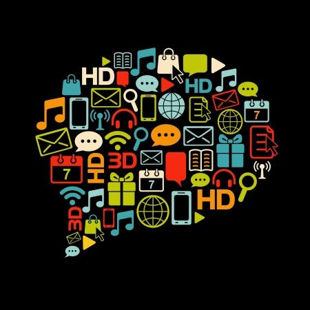 icono computadora: la comunicación de burbuja hecha de iconos