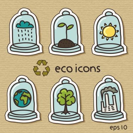 Eco icons on cardboard Vector
