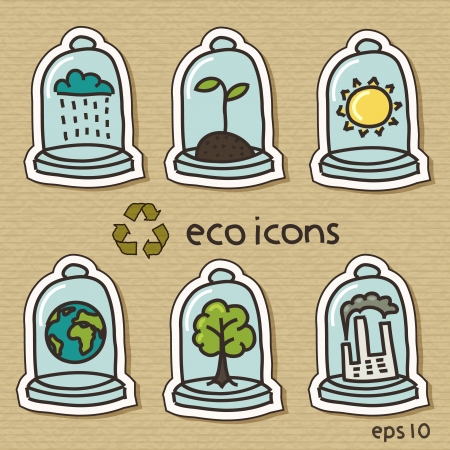 Eco icons on cardboard Illustration