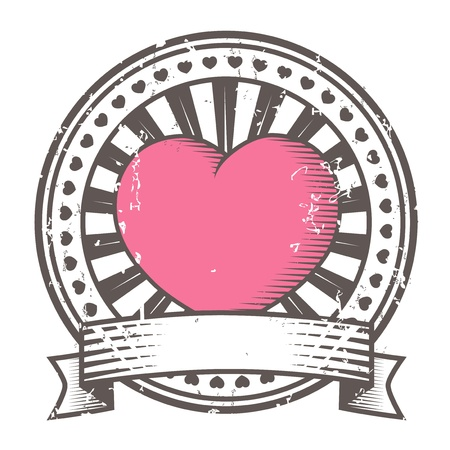 heart heat: Grunge rubber stamp with heart  Valentine s Day Illustration