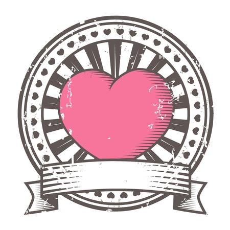xilografia: Grunge sello de goma con el Día de San Valentín del corazón s