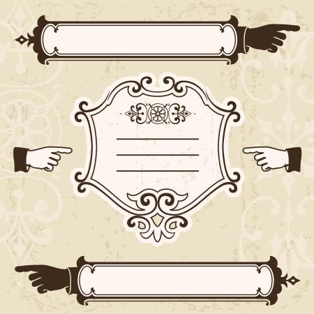 dedo se�alando: Vintage elementos de dise�o con las manos apuntando y letrero