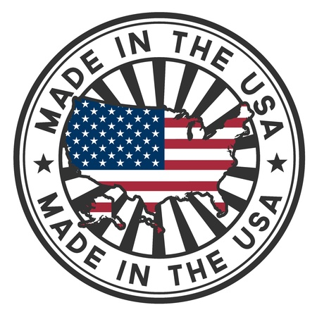 gemaakt: Stempel met kaart en vlag van de VS Gemaakt in de VS