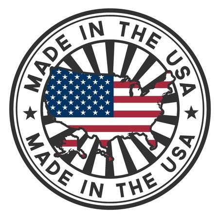 rendu: Timbre avec la carte et le drapeau des Etats-Unis Made in the USA