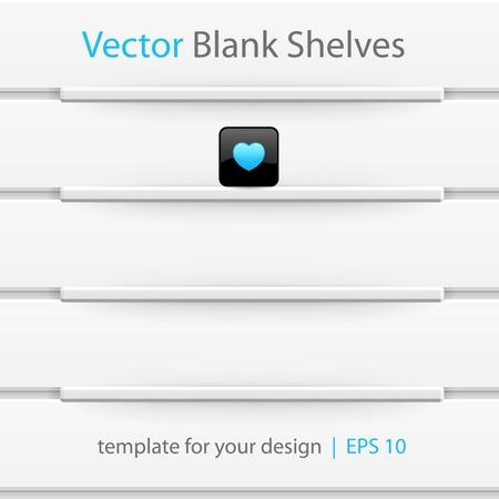 empty shelf: White shelves, template for your design   Illustration